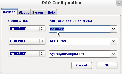 BitScope Server, localhost connection from DSO.