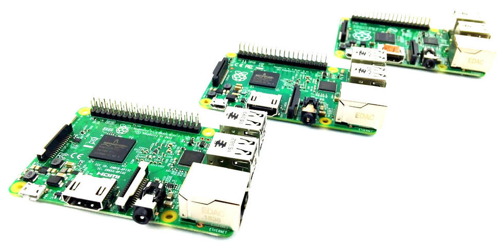 Raspberry Pi 3 Model B and friends.